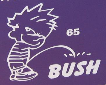 Calvin pisses on a Bush